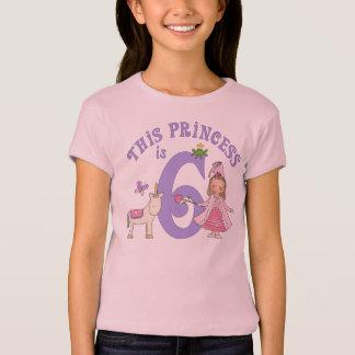 Princesa 6to cumpleaños del unicornio playera