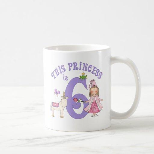 Princesa 6to cumpleaños del unicornio taza