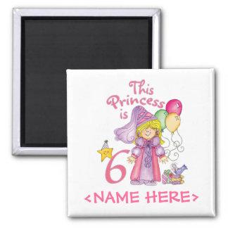 Princesa 6to cumpleaños imán cuadrado