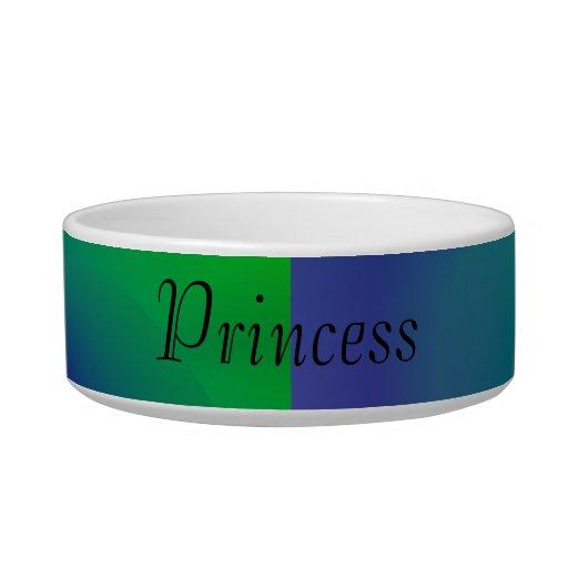 Princesa Abstract Swirls de verde y del azul Tazones Para Gatos