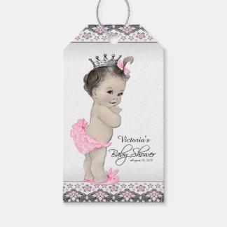 Princesa adorable fiesta de bienvenida al bebé etiquetas para regalos