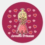 Princesa adorable pegatina redonda