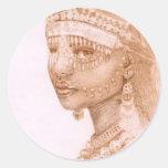 Princesa africana de la arca etiqueta redonda