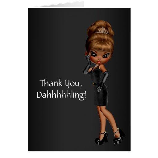 Princesa afroamericana Diva Thank You Cards Tarjeta Pequeña