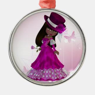 Princesa afroamericana Ornament Adorno Navideño Redondo De Metal