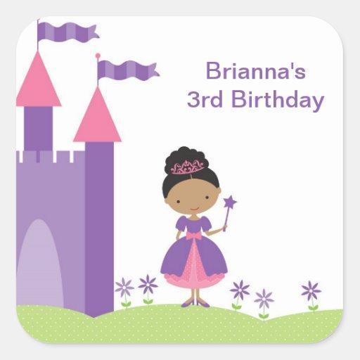 Princesa afroamericana Stickers Calcomanías Cuadradas Personalizadas