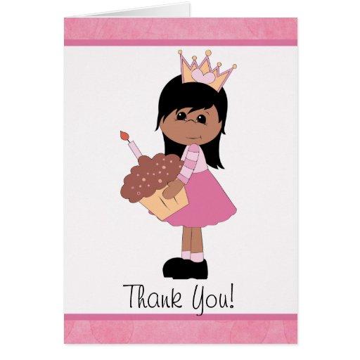 Princesa afroamericana Thank You Note Tarjeta De Felicitación