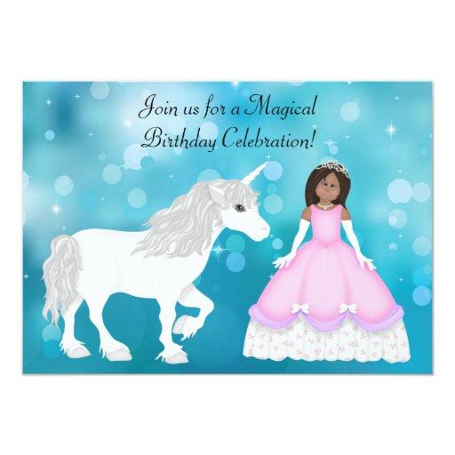 Princesa afroamericana Unicorn Birthday Invite Invitaciones Personales
