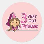Princesa Age 3 Pegatina Redonda