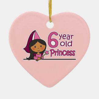 Princesa Age 6 Adorno Navideño De Cerámica En Forma De Corazón