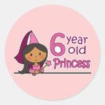 Princesa Age 6 Pegatinas Redondas