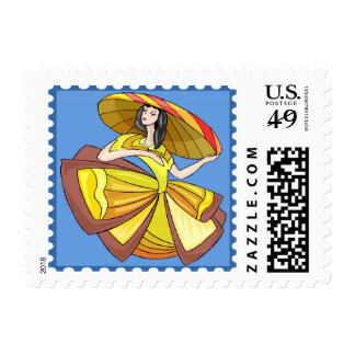 Princesa amarilla de baile Fantasy Cartoon Stamp Estampillas