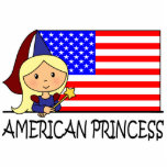 Princesa americana linda Flag del clip art del dib Esculturas Fotograficas