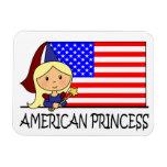 Princesa americana linda Flag del clip art del dib Imán De Vinilo