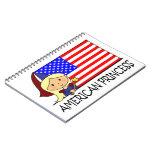 Princesa americana linda Flag del clip art del dib Libreta