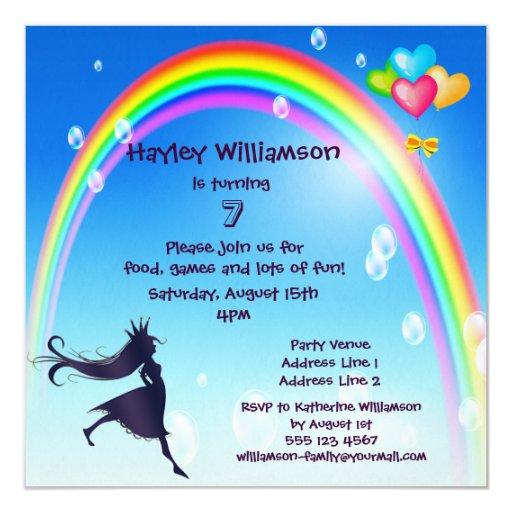 Princesa, arco iris, burbujas y cumpleaños de los invitación 13,3 cm x 13,3cm