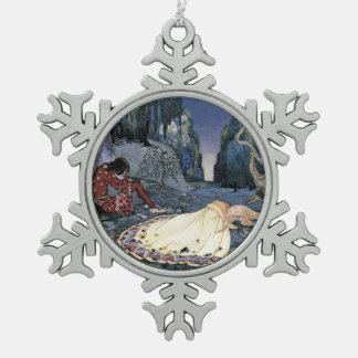 Princesa Asleep en bosque Adorno De Peltre En Forma De Copo De Nieve