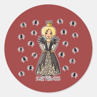 Princesa asustadiza etiqueta redonda