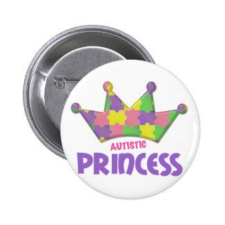 Princesa autística 1 AUTISMO Pin Redondo De 2 Pulgadas