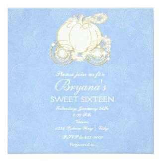 """Princesa azul Carriage Party Invitation de Invitación 5.25"""" X 5.25"""""""