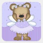 Princesa azul de la hada del oso de peluche colcomanias cuadradas personalizadas