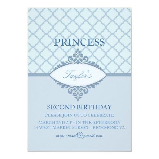 Princesa azul moderna Girls Birthday Invitation Invitaciones Personalizada