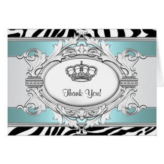 Princesa azul Thank You Card de la cebra del trull Tarjeta Pequeña