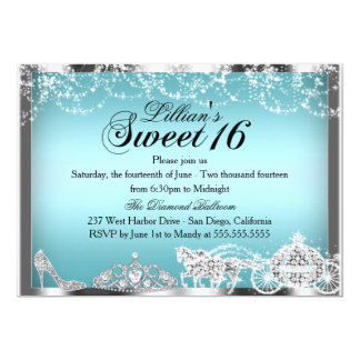 "Princesa azul Theme Sweet 16 de la chispa invita Invitación 5"" X 7"""