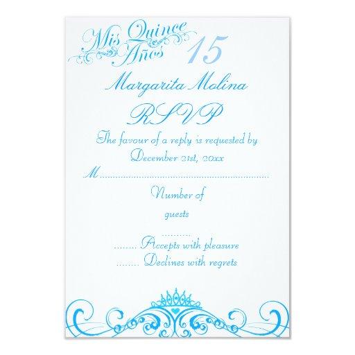 """Princesa azul Tiara Quinceanera RSVP Invitación 3.5"""" X 5"""""""
