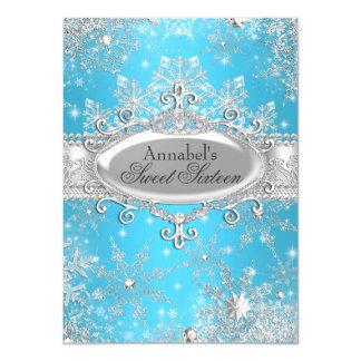 """Princesa azul Winter Wonderland Sweet 16 invita Invitación 4.5"""" X 6.25"""""""