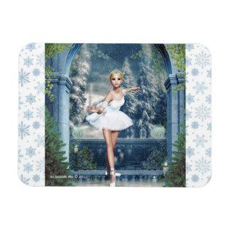Princesa Ballerina Christmas Magnet de la nieve Imanes Rectangulares
