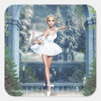 Princesa Ballerina Christmas Square Sticker de la Calcomanias Cuadradas