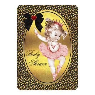"""Princesa Ballerina Faux Bow Foil y ducha del Invitación 5"""" X 7"""""""