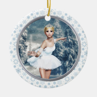 Princesa Ballerina Personalized Ornament de la Adorno Navideño Redondo De Cerámica