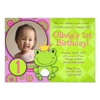 """Princesa Birthday de la rana Invitación 5"""" X 7"""""""