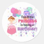 Princesa Birthday de los niños Etiqueta Redonda