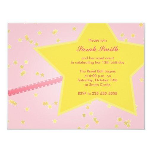 """Princesa Birthday Invitación 4.25"""" X 5.5"""""""
