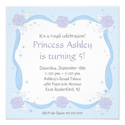Princesa Birthday Invitation con las flores púrpur Invitaciones Personalizada