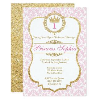 """Princesa Birthday Invitation Pink y oro Invitación 5"""" X 7"""""""