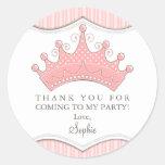 Princesa Birthday Pink Crown Thank usted pegatina