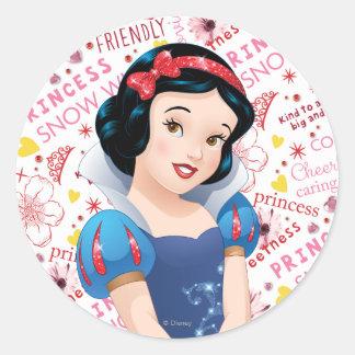 Princesa blanca como la nieve pegatina redonda