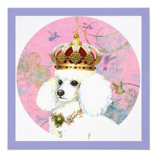 """Princesa blanca del caniche invitación 5.25"""" x 5.25"""""""
