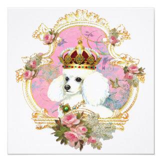 "Princesa blanca Invitations Cards del caniche Invitación 5.25"" X 5.25"""