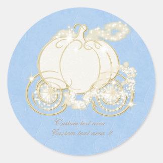 Princesa Blue Gold Carriage Sticker de Cenicienta Pegatinas Redondas