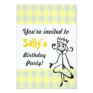 """Princesa bonita Invitation (en verde) Invitación 5"""" X 7"""""""
