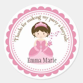Princesa bonita Labels Etiquetas Redondas