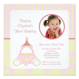 """Princesa bonita Photo Birthday Invitation Invitación 5.25"""" X 5.25"""""""