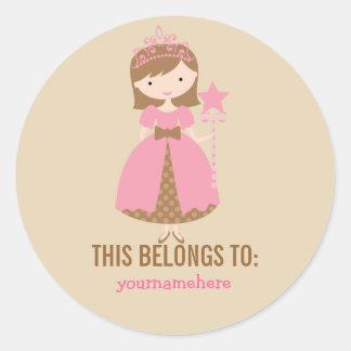 Princesa bonita THIS PERTENECE a los pegatinas Etiqueta Redonda