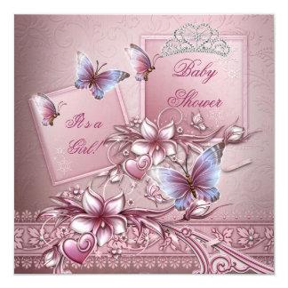 """Princesa Butterfly del rosa del chica de la fiesta Invitación 5.25"""" X 5.25"""""""