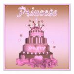 Princesa Cake y fiesta de cumpleaños (trasera) de Invitación 13,3 Cm X 13,3cm